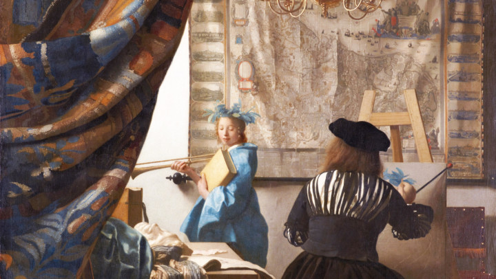 The Art of Painting  *oil on canvas  *120 x 100 cm *1666 - 1668  *signed: I Vermeer (at the bottem of the map)