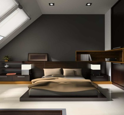 modern interior in bedrooms with bed